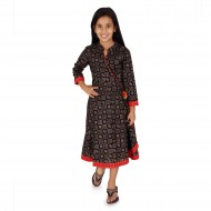 Silverthread Anarkali Girls Dress, Black & Red